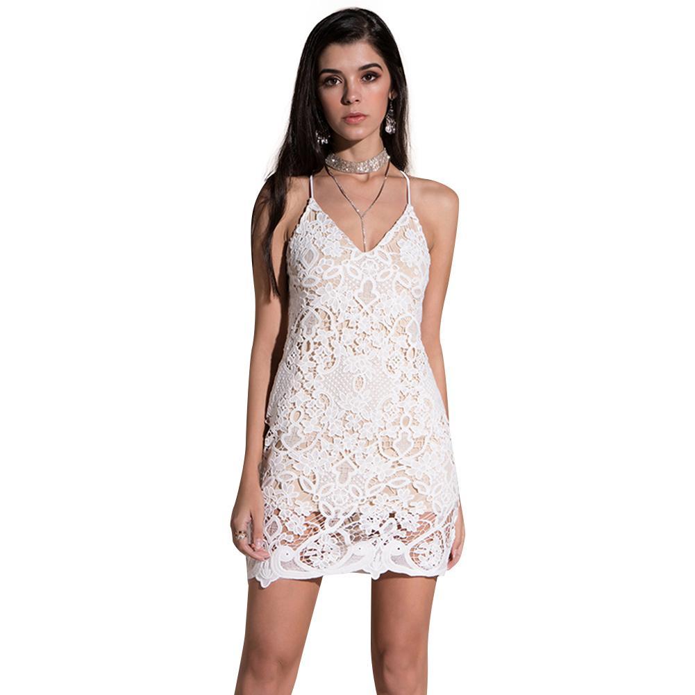 63c5302b2fcc 2018 New Sexy Summer Dress Women Spaghetti Strap Lace Mini Dress ...