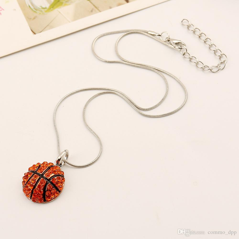 Hohe Qualität Ball Sport Halskette Kristall Strass Softball Baseball Basketball Anhänger Schlange Ketten für Frauen Männer s Fan Modeschmuck