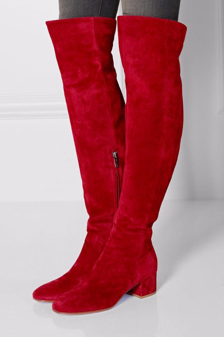 7b94b17d125 Women Winter Flat Boots Red Suede Over The Knee Boots Round Toe Thick Heels  Tight High Side Zipper Stretch Long Boots Sale Wedge Boots From Beasy111