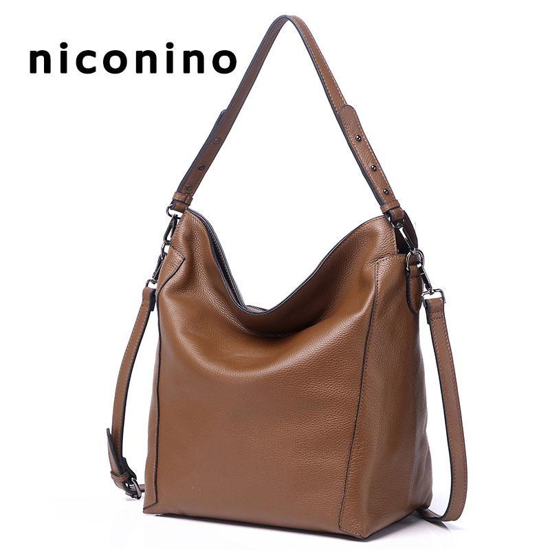 Female Bucket Bag Ladies Genuine Leather Bags For Women 2018 Shoulder Handbags  Fashion Top Handle Bags High Quality Totes Italian Leather Handbags Luxury  ... 4854c7316e51b