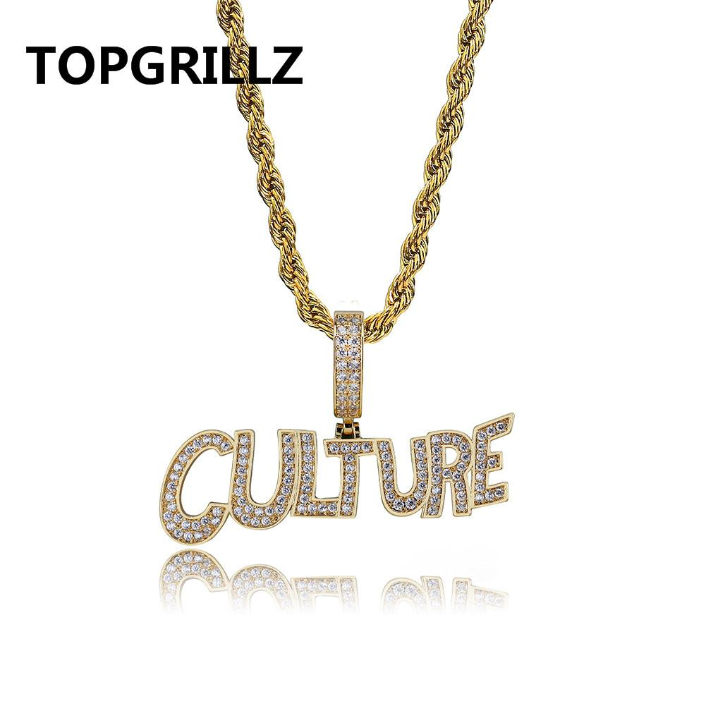6744567c43bc7 TOPGRILLZ Men s Jewelry Hip Hop Bubble Letters CULTURE Pendant Necklace  Tennis Chain Gold Silver Color Iced Out CZ Necklace Gift