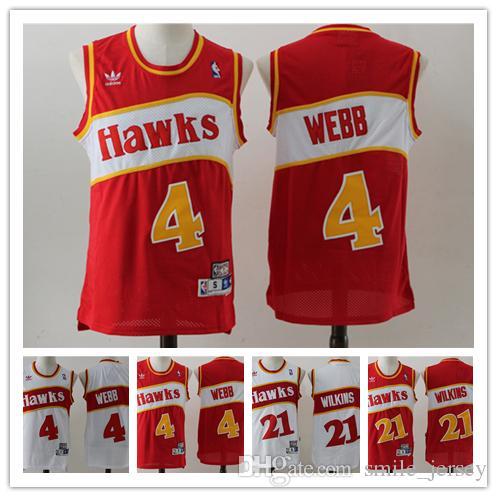 2018 Retro Mens 4 Spud Webb Atlanta Hawks Basketball Jerseys Stitched  Hardwood Classic Mesh Hawks 21 Dominique Wilkins Retro Basketball Jersey  From ... a14425833