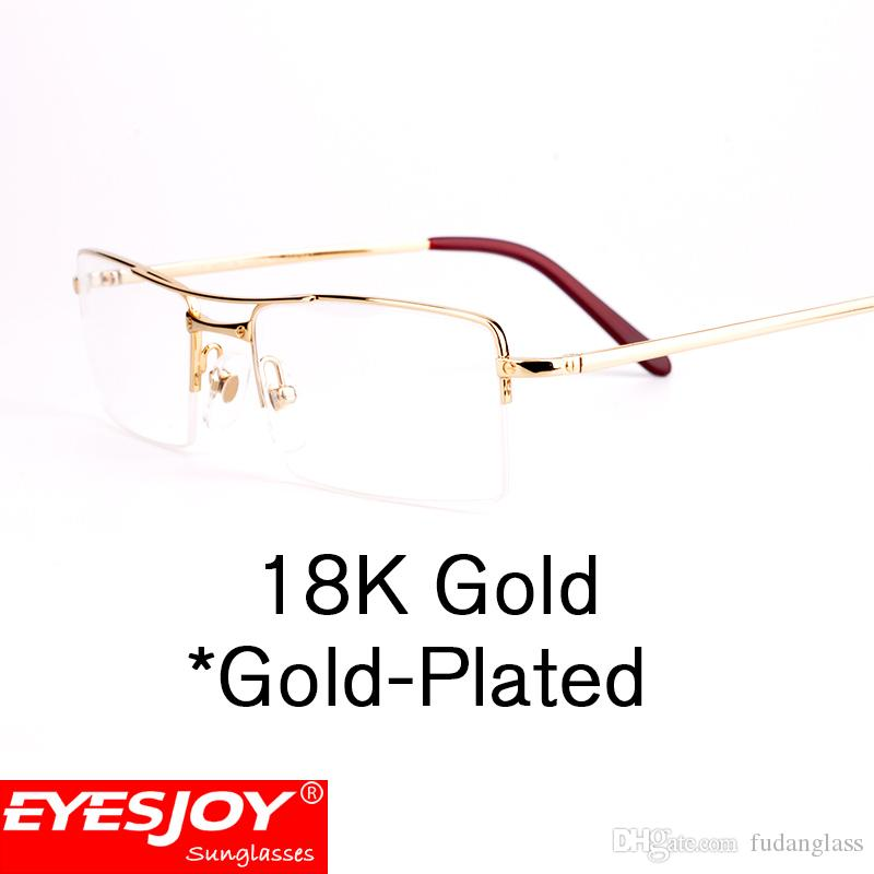 Classic Mens Half Frame Eyeglasses Frame Without Degrees Resin ...