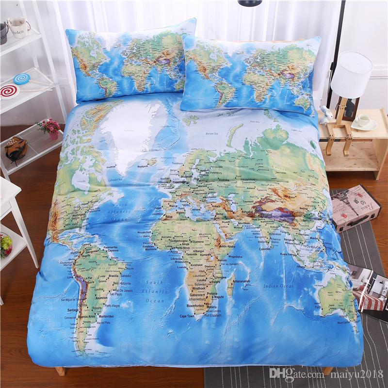 3d world map bedding set vivid printed blue bed duvet cover with 3d world map bedding set vivid printed blue bed duvet cover with pillowcase twill cozy home textiles twin full queen king size bedspreads and comforter sets gumiabroncs Gallery