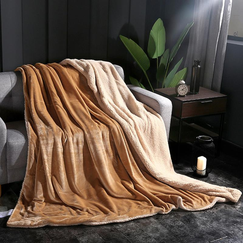 Double Layer Thickened Berber Fleece Blanket Solid Color Coral Delectable Coral Colored Throw Blanket