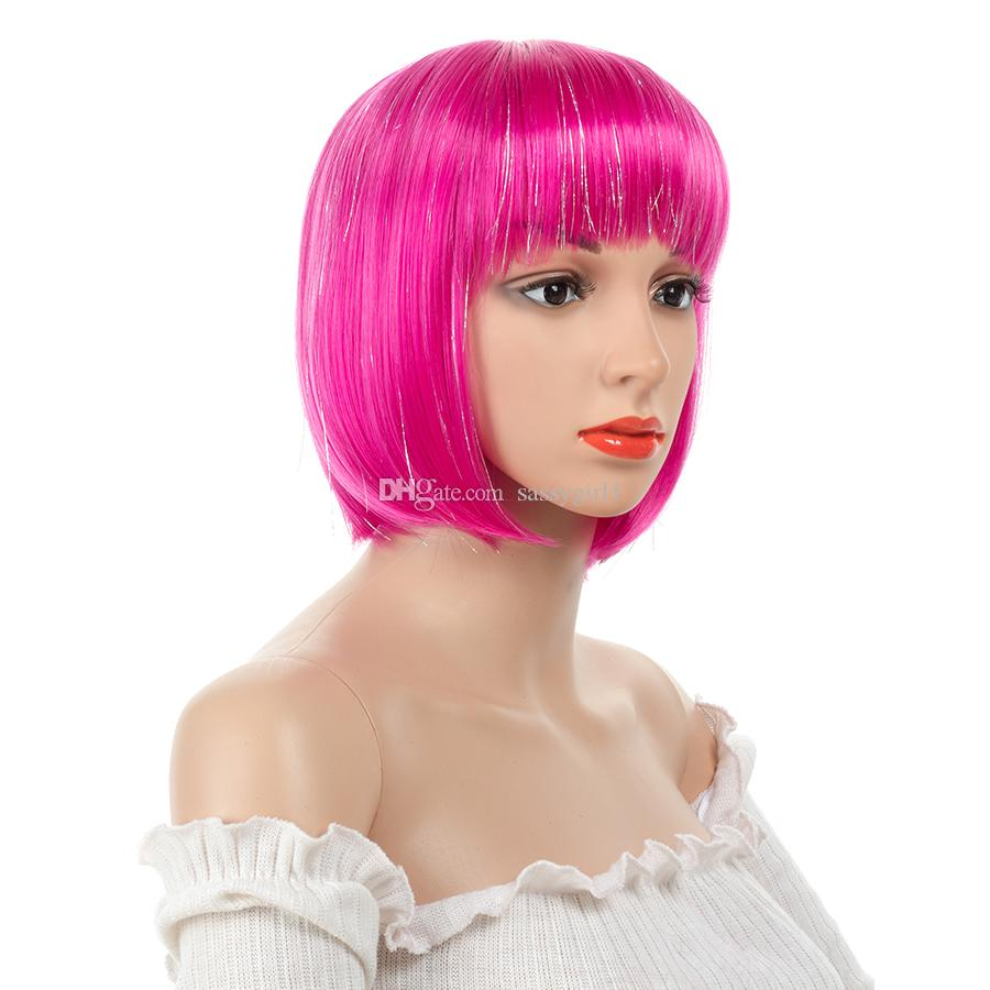 12inch Short Straight Pink Highlighted Bob With Bangs Synthetic Wig