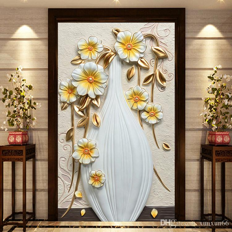 3D murales carta da parati vaso bianco Fiore 3d murales Carta da parati soggiorno foto murales papel de parede