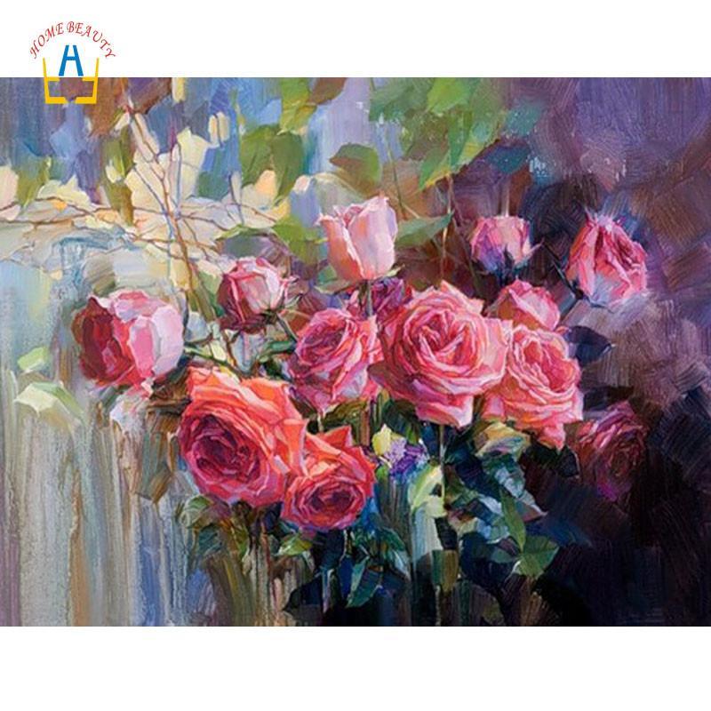 Satın Al Diy Akrilik Boyalar Sayılar Tarafından Boyama Gül çiçek