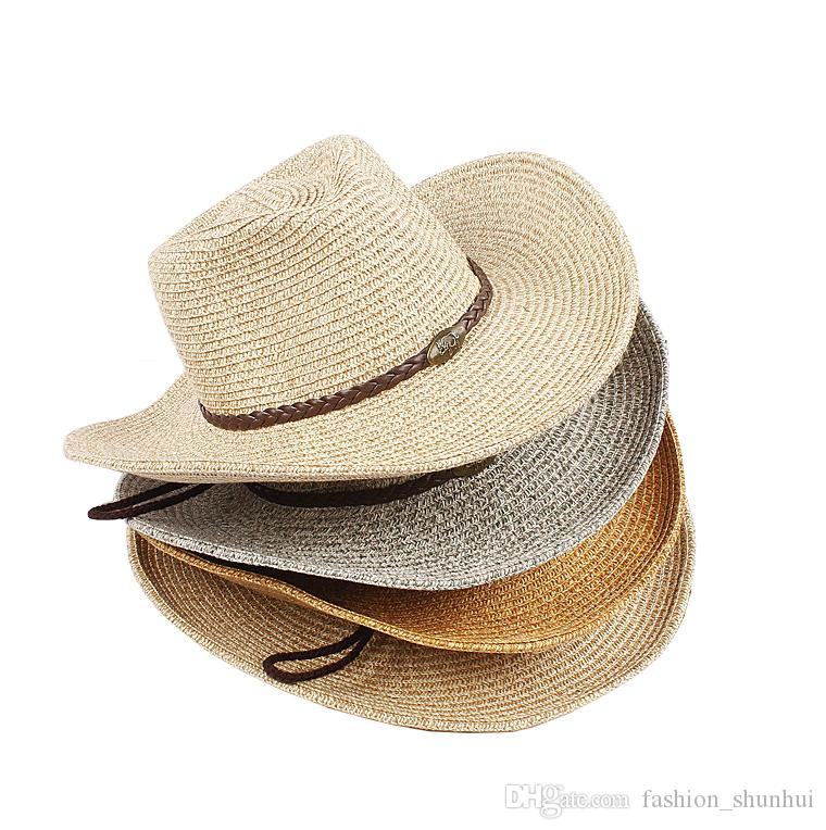 c943ca8c816 Man Wide Brim Hats Foldable Straw Hat Summer Beach Hat for Outdoor ...