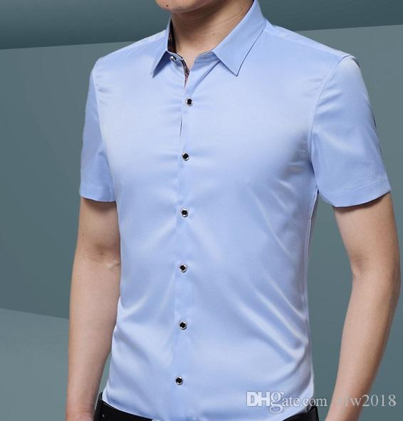 f107e693436f 2018 Mens Silk Cotton Dress Shirts Slim Fit Short Sleeve Casual Button Down  Shirts
