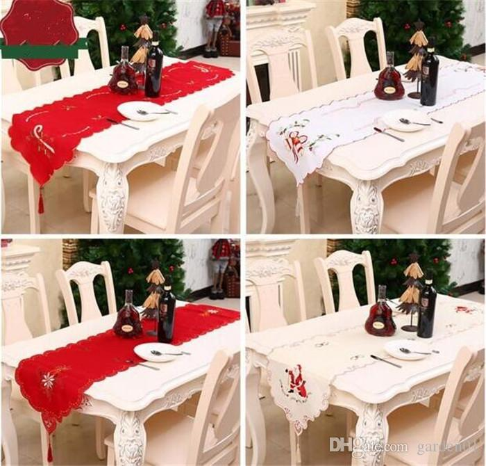 20pcs Christmas Table Runner Embroidered Floral Lace Dust Proof Covers for Table Xmas Ornament for Home Christmas Decorations G316