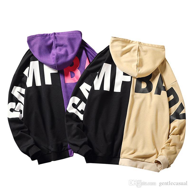 18FW Hommes Pulls À Capuche Style Coréen Lâche Sweat À Capuche Sur La Taille Hoodies Pour Hommes Violet Et Noir Patchwork Vêtements