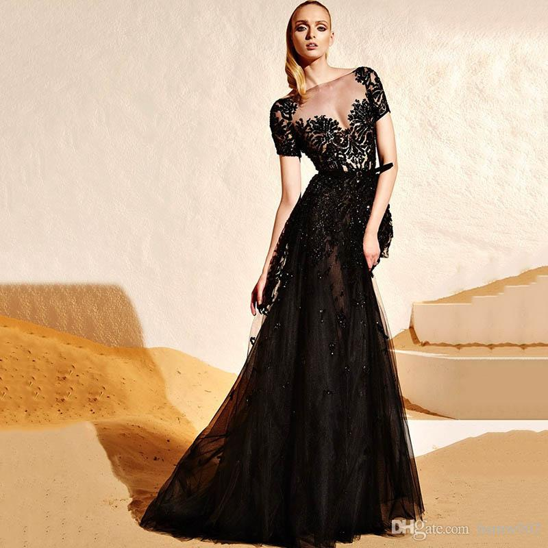 Sexy Illusion Black Tulle Red Carpet Celebrity Dresses Mermaid Short Sleeves Beadings Crystal Appliques Evening Gowns Hot Prom Dresses