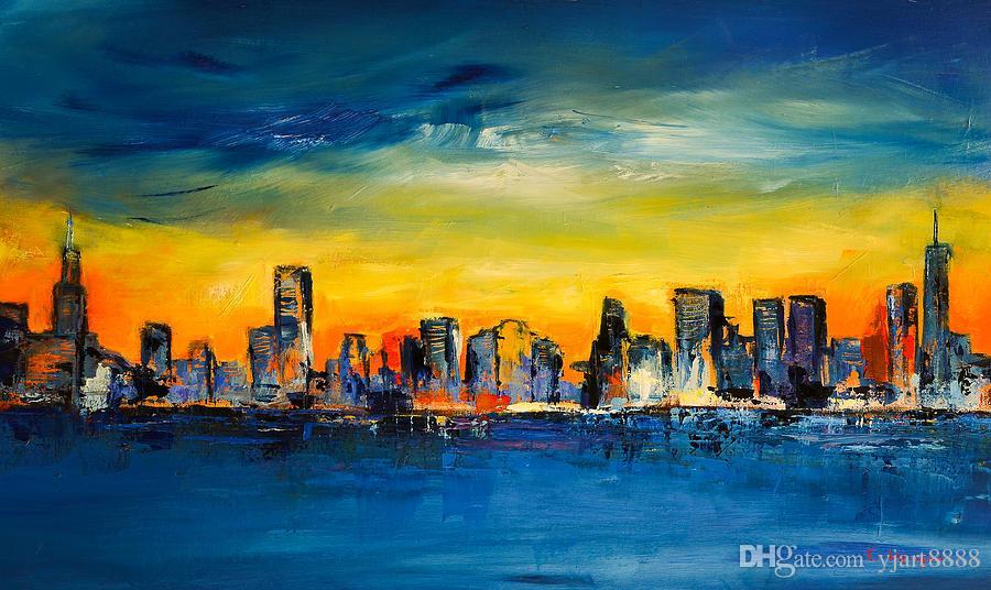 2018 Yj Art Chicago Skyline Unframed Modern Canvas Wall Art For Home ...