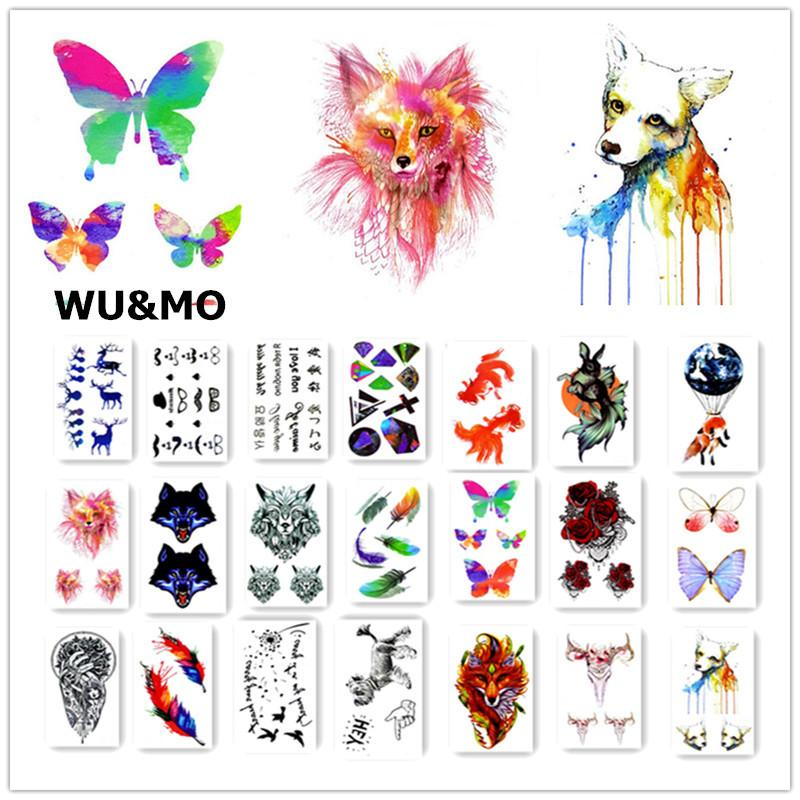 Colorful Drawing Temporary Tattoo Women Men Flower Animals Dogs Body Art Decal Design Waterproof Sticker Watercolor Custom Fake Tattoos Your