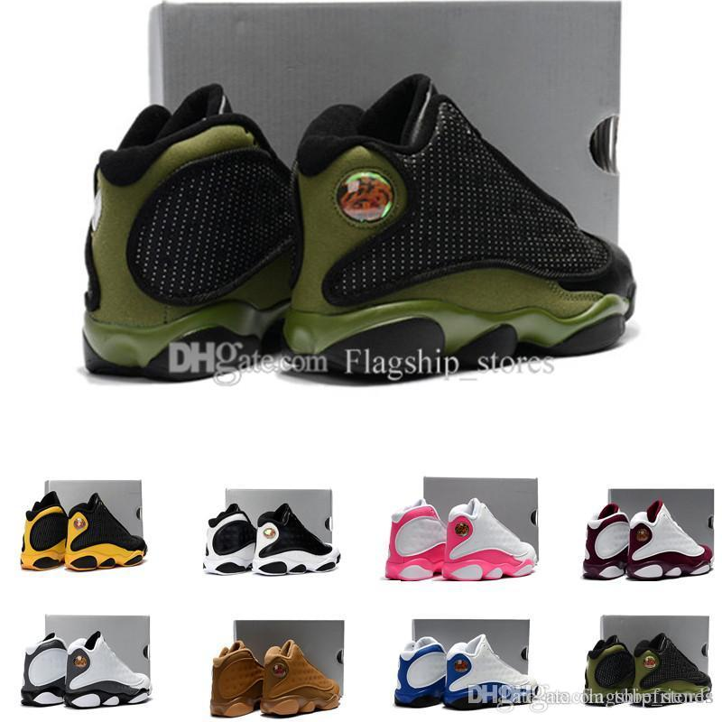 buy popular f87f2 9f3ac Olive 13 kids basketball shoes black/green 13s dmp bordeaux love respect  playoffs XIII sneakers boy girl children eur28-35