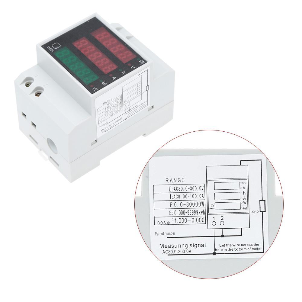 Freeshipping AC80-300V 100A 전류계 전압계 다기능 디지털 딘 레일 전류 전압 역률 측정기 전류계 전압계