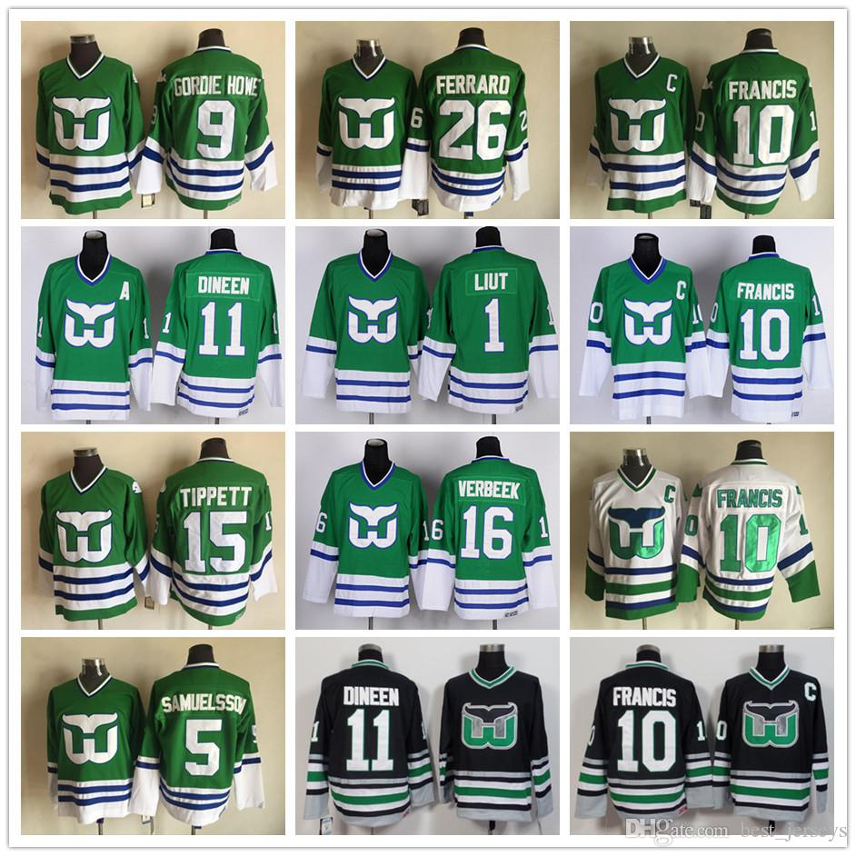 d4c472d60 2019 Hartford Whalers 10 Ron Francis Jersey 11 Kevin Dineen 1 Mike Liut 16  Patrick Verbeek 26 Ray Ferraro 5 Ulf Samuelsson Hockey Green From  Best_jerseys, ...