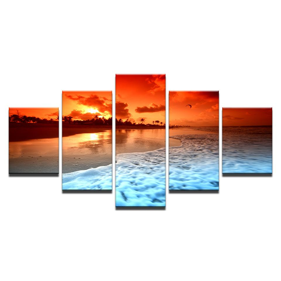 Canvas Painting Living Room Wall Art Framework 5 Piece Sunset Glow Beach Sea Waves Poster HD Prints Seascape Pictures Home Decor Y18102209