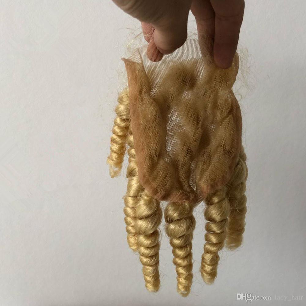 # 613 Rubia Peruana Tía Funmi Cabello humano teje con cierre Romance Curl Bleach Blonde 4x4 Cordón Cierre frontal con 3 paquetes especiales