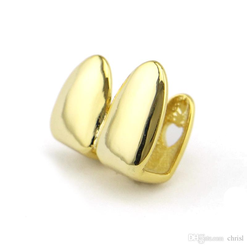 New Arrived Double Caps 18K Yellow Gold Color Plated Grillz Canine Plain Two Teeth Right Top Single Caps Grills