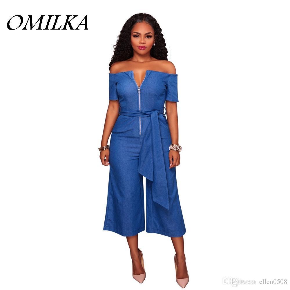 0a8c61e68a78 2019 OMILKA Rompers Womens Jumpsuits 2018 Summer Front Zipper Bandage Off  Shoulder Slash Neck Denim Blue Jeans Flare Overalls From Ellen0508