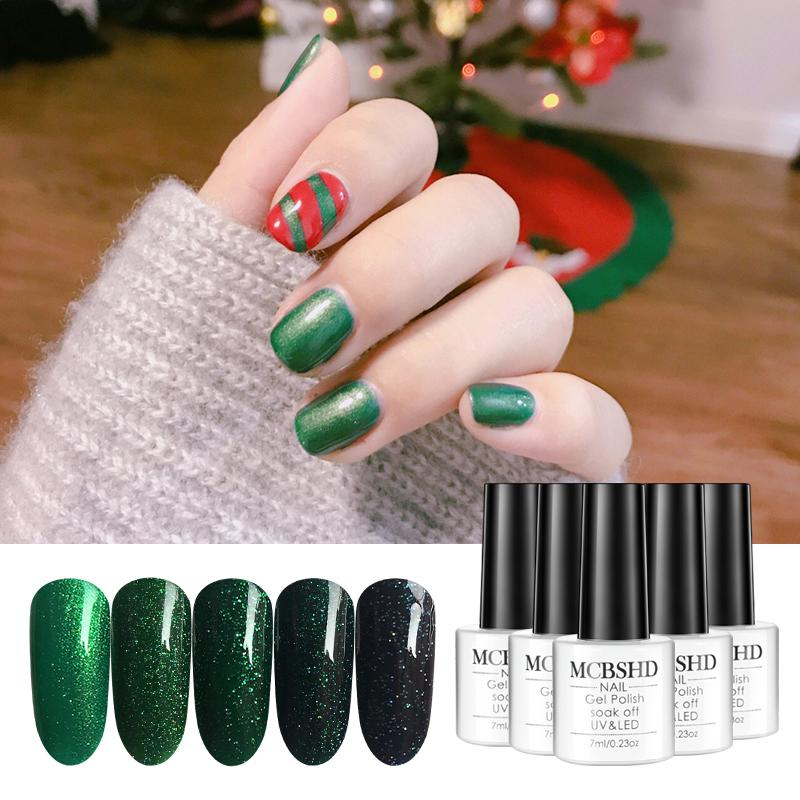 Mcbshd Gel Green Diamond Varnishes Polish Nail Art Christmas