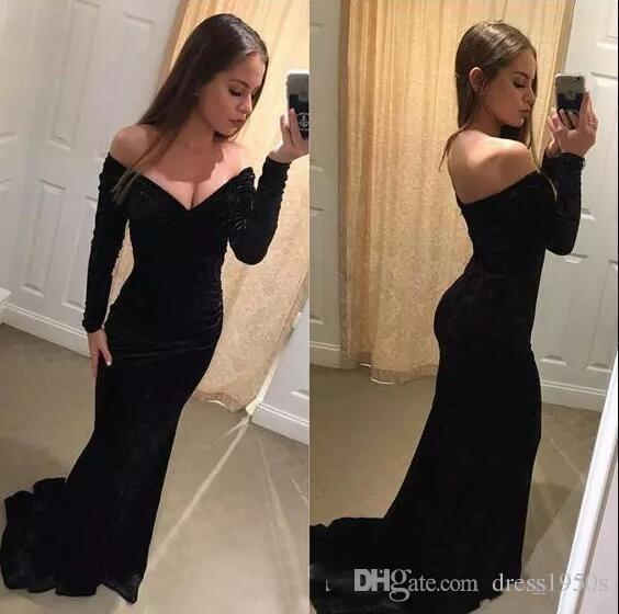 3fcb62326062 Sexy Deep V Neck Formal Dresses Evening Wear Off Shoulder Long Sleeve Black  Velvet 2018 Prom Dress Simple Mermaid Night Party Gowns Evening Dress For  Women ...