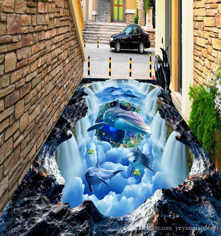 Self adhesive Wallpaper 3D Flooring Waterfall Dolphin Waterproof Kitchen Sticker 3D Flooring PVC Wall papers Home Decor