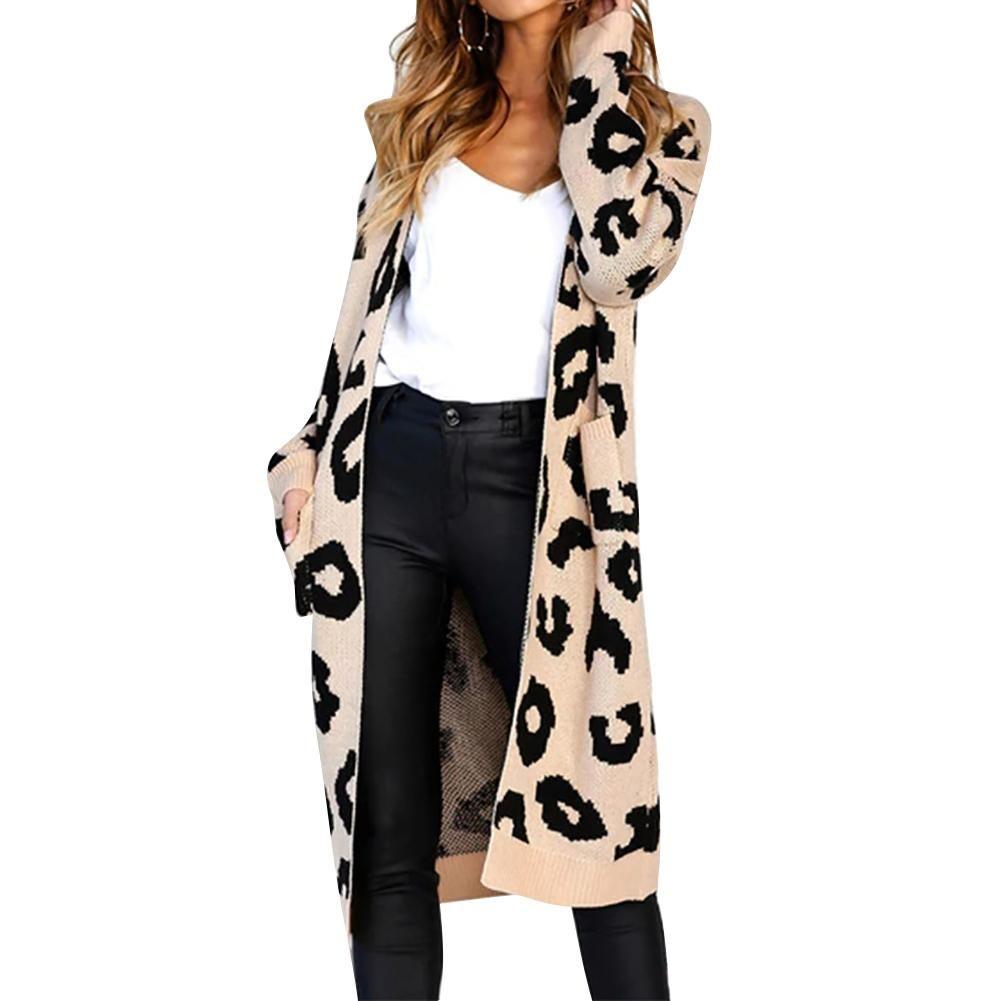 9ca5ce3e404e 2019 Cardigan Sweater Casual Pockets Leopard Print Long Sleeve ...
