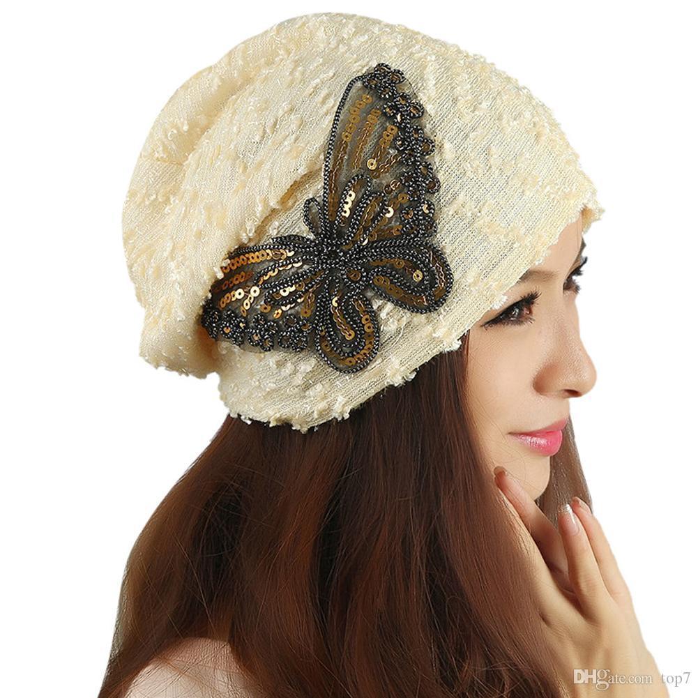 Women s Winter Hats For Women Butterfly Hat Female Crochet Warm 2018 ... 53b1138fb44