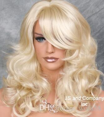 Beautiful Full Layered Wavy Curly Pale Blonde Wig W. Bangs JSBD 613  Adjustable Wig Stand Wig Hat From Wofa58 36986aeb1