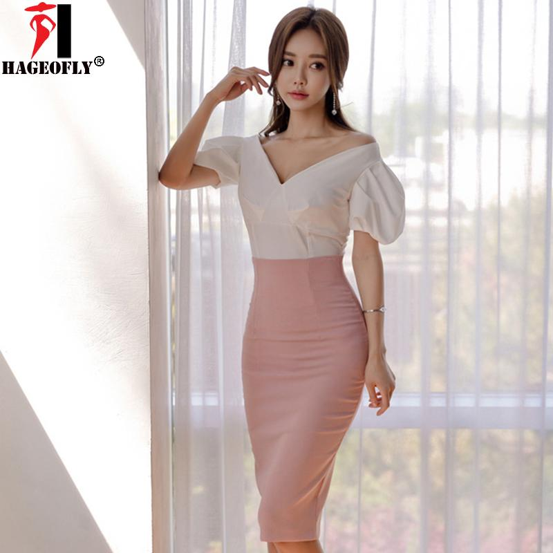 97a72e293fd Cheap HAGEOFLY New Summer Sets Korean Dress White Tops with Pink Knee Skirt  Suits Dress Puff Sleeve Work Office Lady Dresses