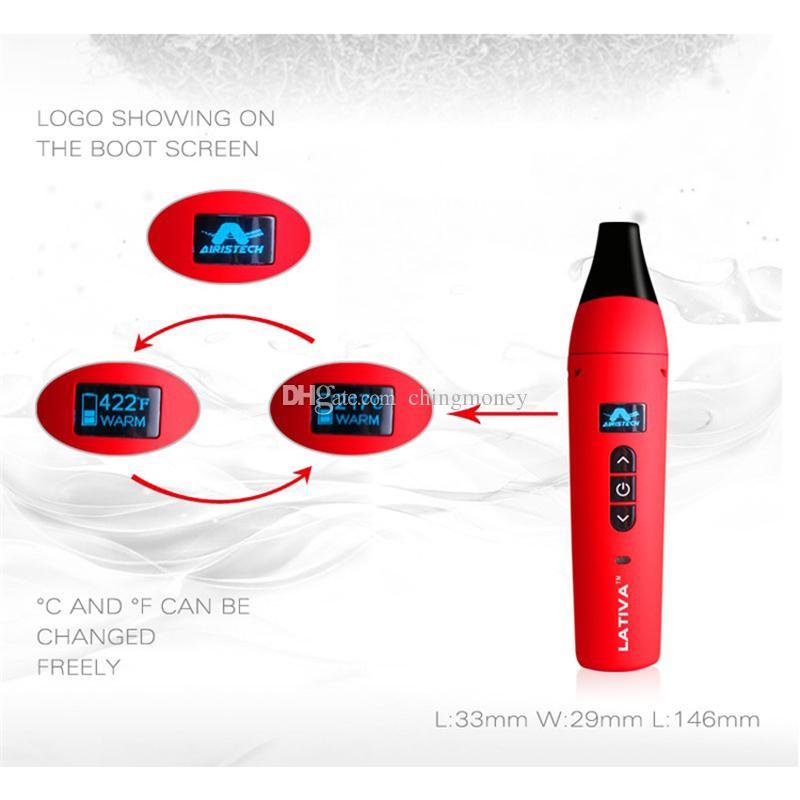 100% Otantik Airis Lativa Kuru Bitkisel Buharlaştırıcı 2200 mAh Seramik Isıtma Odası OLED Elektronik Sigara Kiti Nargile Vape Kalem DHL Ücretsiz