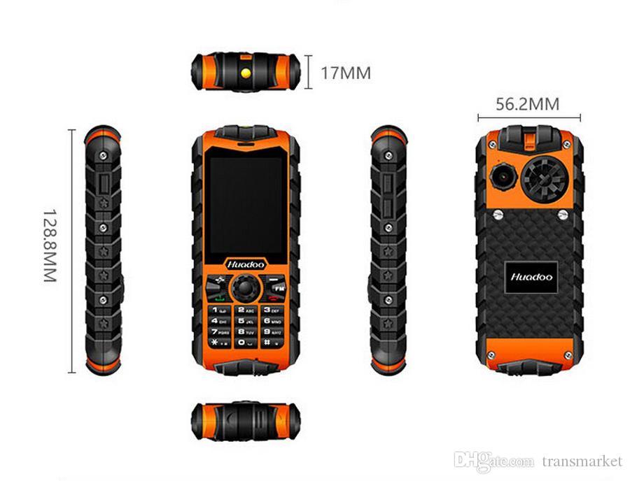 Original Huadoo H3 3G móvel FM lanterna telefones resistentes telefone Antigo À Prova D 'Água homem velho IP68 militar Oudoor ultra Resistente à prova de choque a Rússia