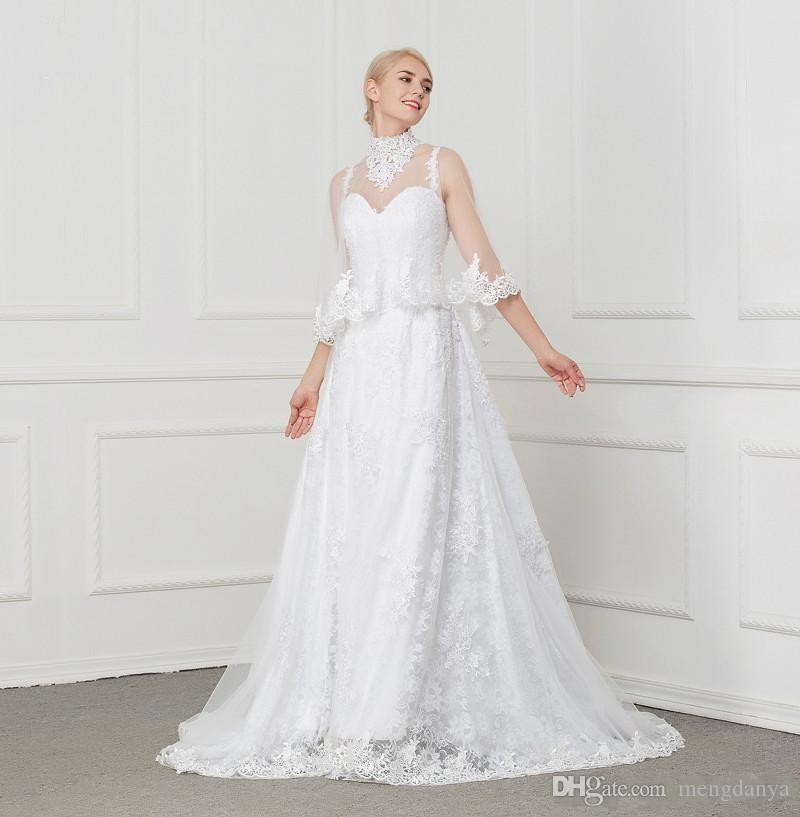 2019 Real Photo Vintage Apliques de Renda Beading A Linha Vestido De Noiva Capela Trem Dois Em Um com o Envoltório plus size vestidos de noiva H1990