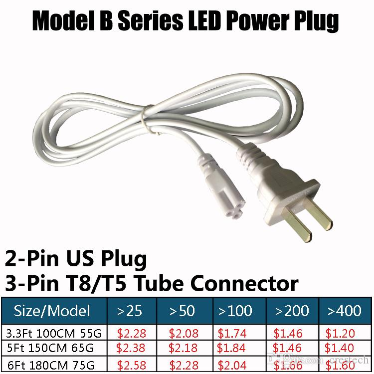 T8 T5 LED Integrated fluorescent Lamp Tube wire US plug Connector 3-Prong US Plug AC Power Cord Cable Charge Adapter White or black
