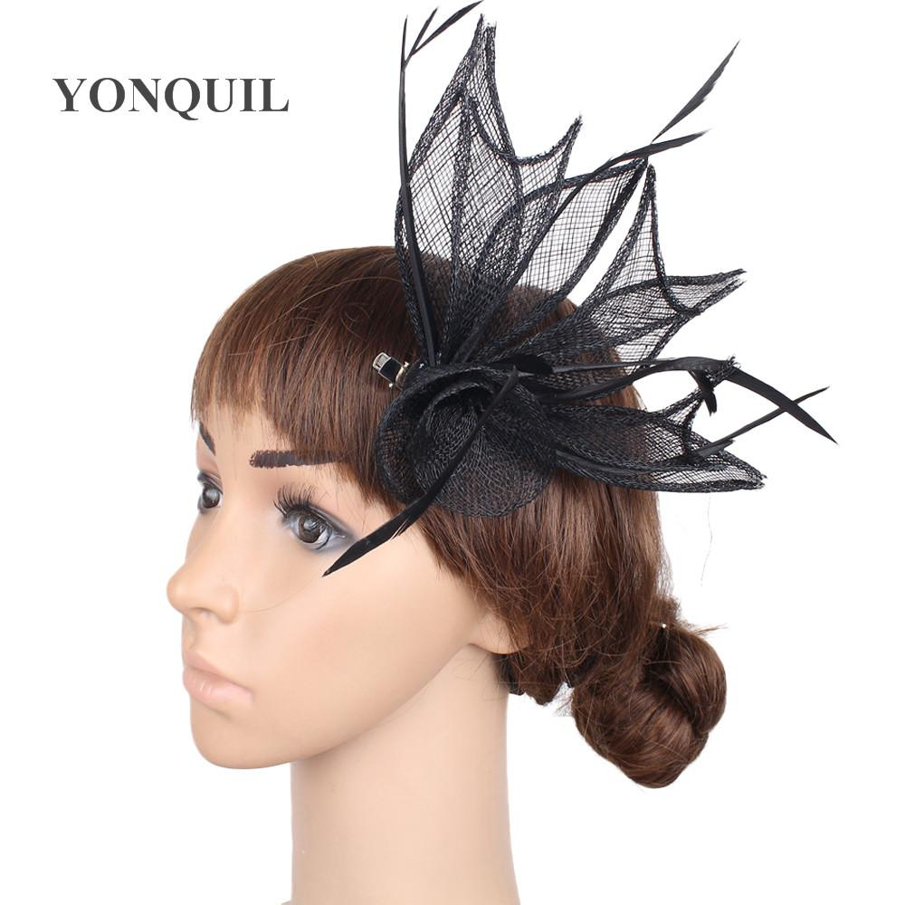 21 Farben Blatt Design kleine Fascinators süße Mädchen Hüte Party Gelegenheit Hochzeit mit Feder Haar Fascinators auf Haarspangen MYQ021