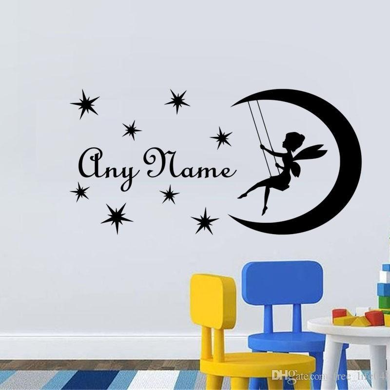 wall decal diy fairy on moon custom name wall sticker personalized