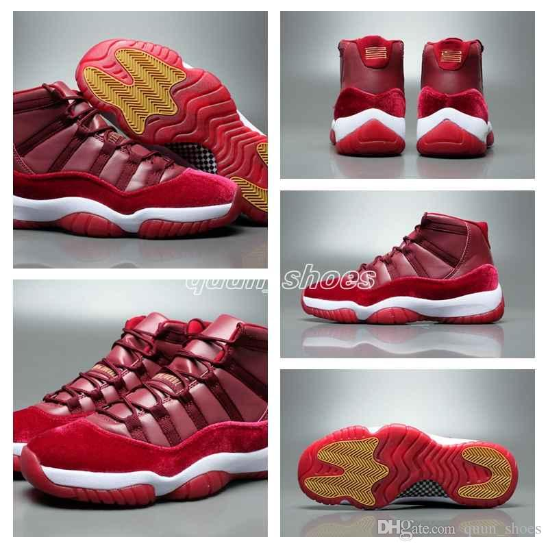 4bbdae608d9780 ... New 11 Velvet Heiress Night Maroon Men Women Basketball Shoes Wine Red  11s Velvet Heiress Sports ...