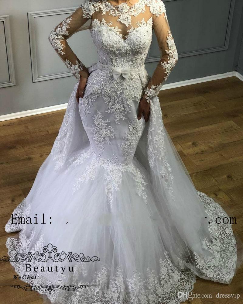 f7b7e2529 Glamorous Mermaid Wedding Dresses With Detachable Skirt Sexy Illusion Sweep  Train Long Sleeve Bridal Dress Lace Appliques Beaded Plus Size Mermaid  Wedding ...