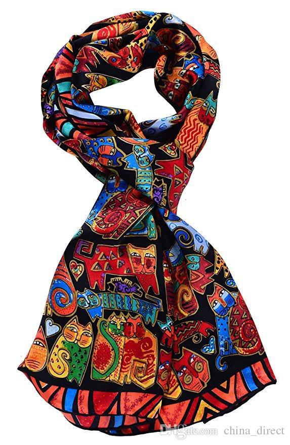 Animal print gato todo o jogo mulheres 100% lenço de seda moda envoltório xaile tamanho 160 * 42 cm # 2745