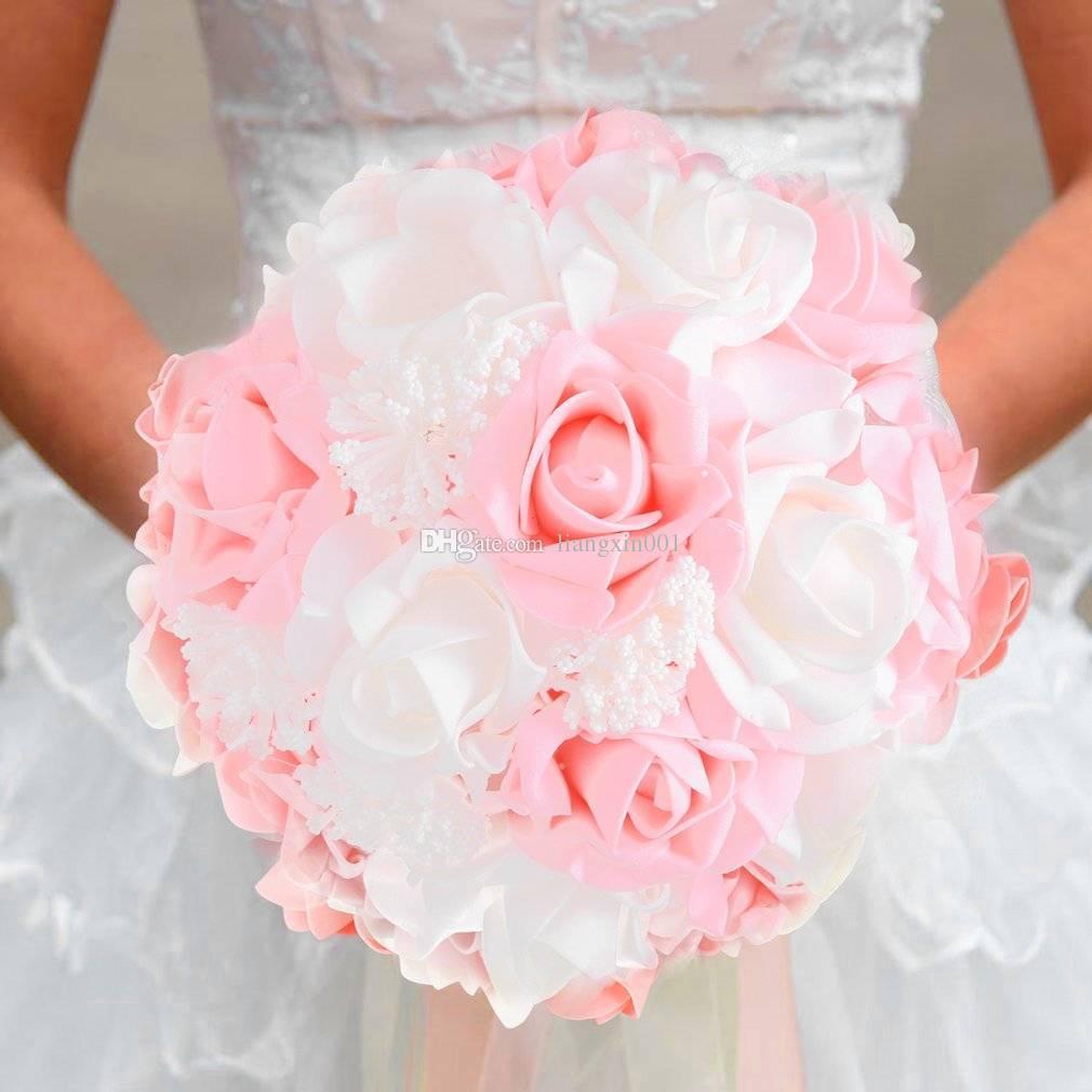 Bride Holding Flower Bouquet Korean Style Simulation Rose Bouquet