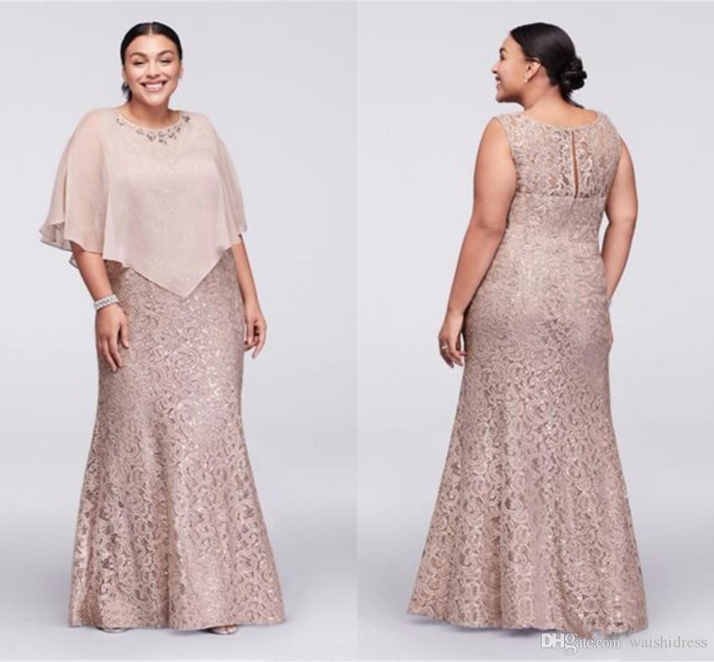 Plus Size Lace Mother Of The Bride Dresses With Wrap Mermaid Plus ...