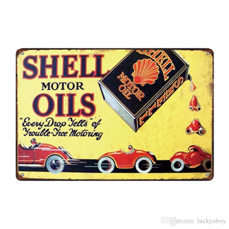 Shell Motor Oils Vintage Rustic Home Decor Bar Pub Hotel Restaurant Coffee Shop home Decorative Metal Retro Metal Tin Sign