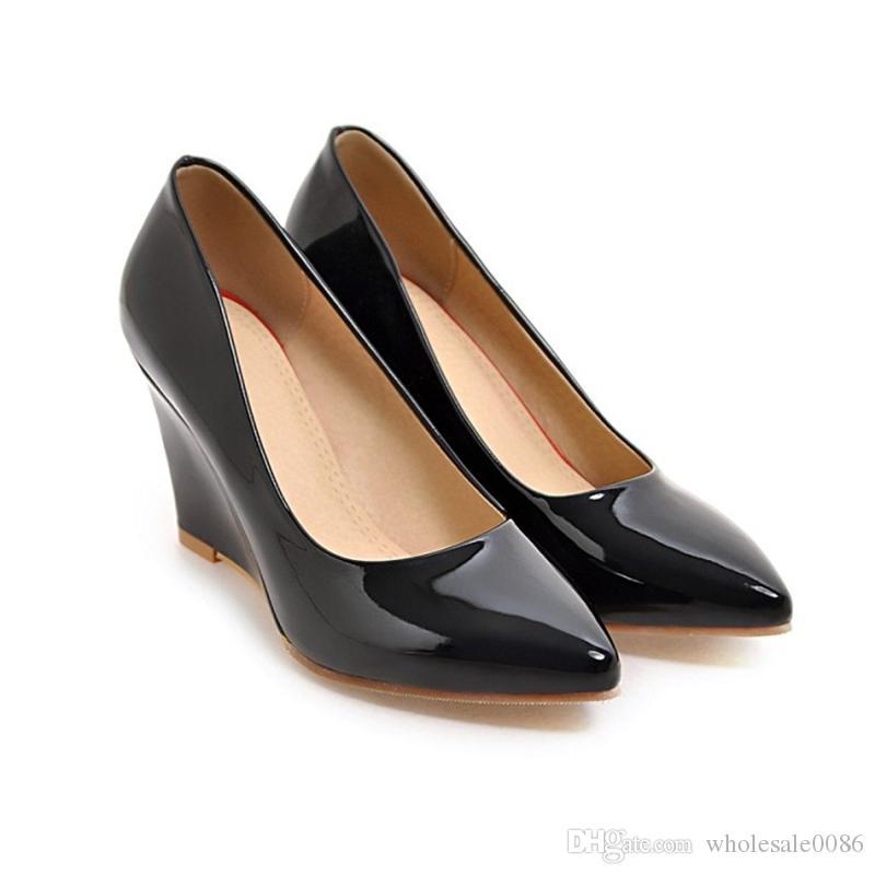 pretty nice c2068 7cfe8 Mode Damen Keilabsatz Schuhe Damen Spitz Kunstleder Sandalen Pumpe S529 US  Größe 4 -10.5