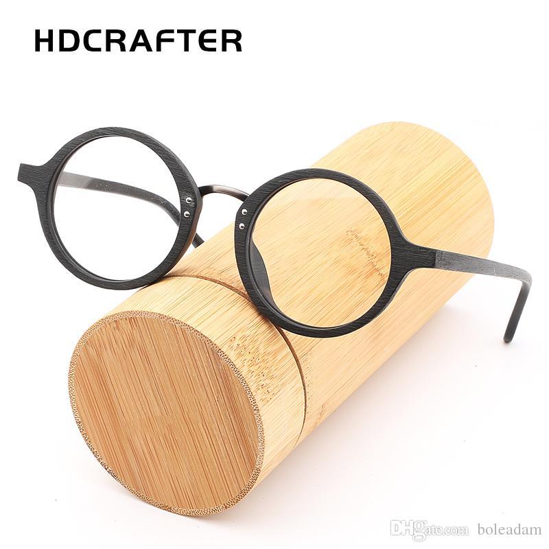 Compre 2018 Hdcrafter Holz Brillenfassungen Für Männer Unisex Runde ...