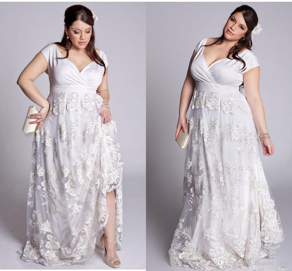 Plus Size A Line Lace Wedding Dresses 2019 V Neck 3D floral lace garden  Bridal robe de soiree Formal Party Dresses Gown Lady Women