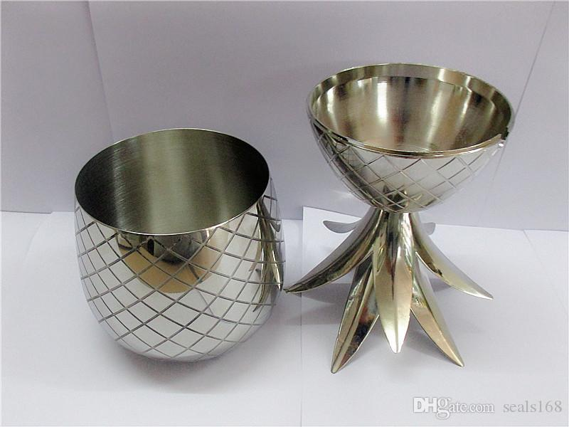 500ML Pineapple Cocktail Cup Stainless Steel Shaker Copper Finish Mug Cup Gift Drink Party Storage Container XMAs gift 350ML HH7-368