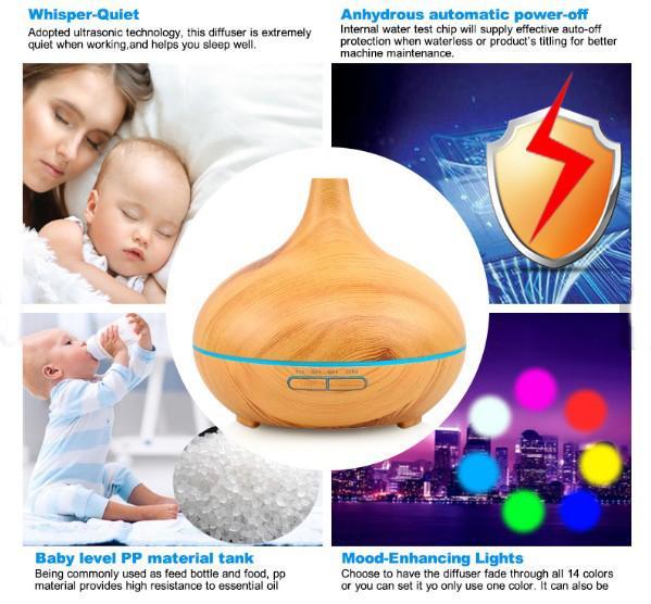 Grão de madeira 300 ml Aroma Difusor de Óleo Essencial Umidificador de Ar Ultra-sônico com 300 ml 7 Cor Mudando Luzes LED para Home Office